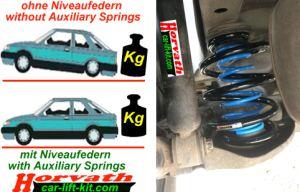 Niveauregulierungsfedern (Zusatzfedern) Saab 9-3, Typ YS3F, PKW, Kombi, Cabrio, Bj. 09-2002-, nicht bei vorhandener Niveauregulierung, nicht mit Tieferlegung