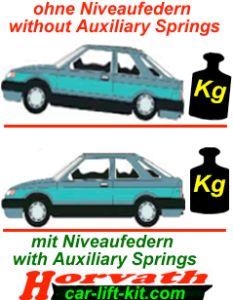 Niveauregulierungsfedern (Spiral-Ersatzfedern) Mercedes C-klasse / C-klasse Estate W203 Bj. 01.01-02.07, nicht bei vorhandener Niveauregulierung
