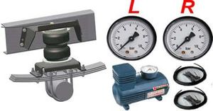 2-circuit high-performance compressor system, manually from the drivers seat for left + right separately adjustable, for Double convoluted auxiliary air springs