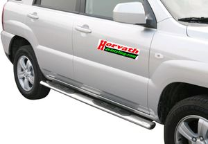 side bar stain-steel, with steps, oval, Kia Sportage 08-