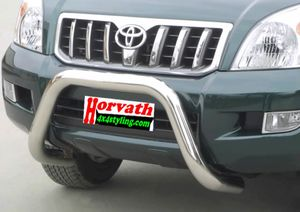 """bull bar stain-steel Typ """" U2-76"""" dm= mighty 76mm, Toyota Landcruiser J12 / LC120 /KDJ120 / L300 My. 2003-, not with parking assistance"""