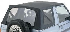 softtop-standard black for original linkages Suzuki Vitara 3-doors, My. 88-, with hook or snap fixing