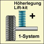 Höherlegungs-Niveaufedern +30mm VW Jetta IV 4-motion 1J  Bj.: 10.98-09.05
