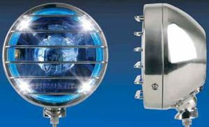 Fernscheinwerfer Edelstahl poliert  Dm= 211mm, 12 oder 24V, mit zusätzlichen Positionslicht und blauer Lichtscheibe