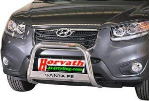 "Hyundai Santa Fe Bj. 10-12, Rammschutz Edelstahl Typ ""U2-63"" Dm= 63mm, mit Schriftzug"