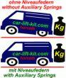 Niveauregulierungsfedern (Höherlegung-Ersatzfedern) für alle VW T5 GP Bj. 11.09-06.15 / T6, T6.1, Bj. 07.15-, für vorne und hinten, nur bei mindestens 600 Kg ständiger Zuladung, Achslast hinten mindestens 1300 Kg