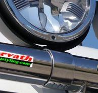 Edelstahl Styling-Scheinwerferhalterung für 76mm Rohr, für Rammschutz, Überrollbügel, Lichterbügel - Montage der Scheinwerfer stehend oder hängend