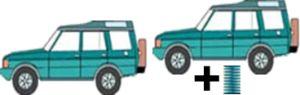 Höherlegungs-Niveaufedern vorne +25mm, hinten +30mm, Mitsubishi Outlander, Typ GG/GF, 2WD, 4WD, Bj. 08.12-, nicht für PHEV (Hybrid)  Modell, nicht für Modell mit Niveauregulierung