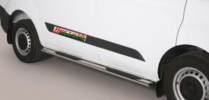 Seitenrammschutz Edelstahl, Oval, mit Trittfläche, Ford Transit Custom FWD Bj. 12-, Radstand L1 kurz