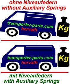 Niveauregulierungsfedern (Zusatzfedern) Volkswagen Transporter T3 Bj. 09.79-08.90, nicht für Syncro