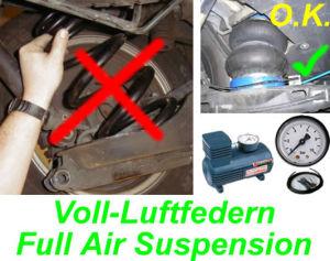 Voll-Luftfedern Mercedes Vito, Vito Tourer, V-Klasse, Typ W447, 2WD, 4WD, Bj. 12.2014-, ersetzen die original Federn, mit Niveauregulierung für die Hinterachse, wahlweise mit Absenkvorrichtung, nicht für Modell 639/5 und Kompakt