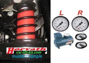 2-Kreis Hochleistungskompressor-System, manuell vom Fahrersitz für links + rechts getrennt einstellbar, für Zusatzluftfedern in Schraubenfedern