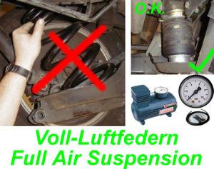 Voll-Luftfedern (ersetzen die original Federn) Renault Trafic, Typ JL, FL, mit ABS, Bj. 05.2014-, mit automatischer Niveauregulierung immer die ideale Fahrzeughöhe für die Hinterachse
