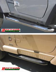 Seitenrammschutz mit Trittfläche, Dm= 76mm, Jeep Wrangler TJ, 3-türig, Bj. 1996-2006, Edelstahl oder Schwarz